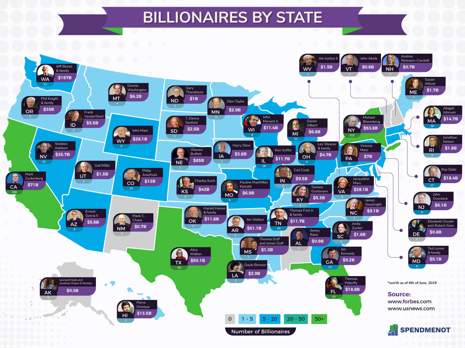 Billionaires by State - A Map