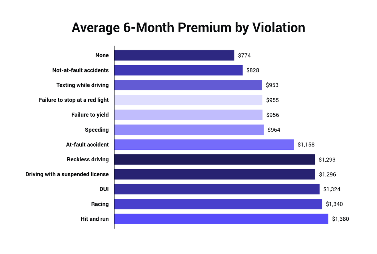 Average 6 Month Premium by Violation