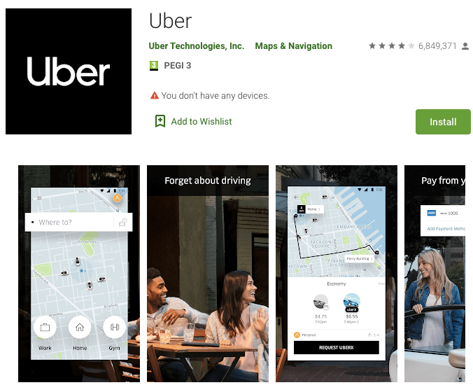 Uber Revenue Statistics - A picture of the characteristics of the Uber as shown on the Play Store