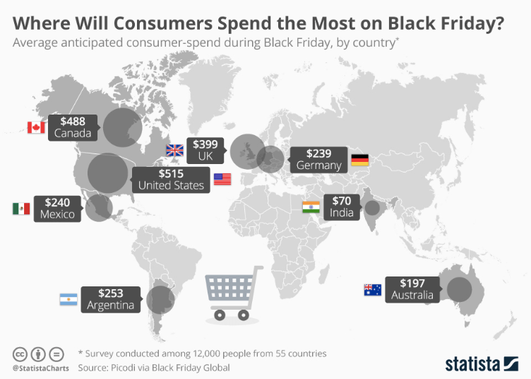 A world map with places where consumers will spend the most amount of money on Black Friday