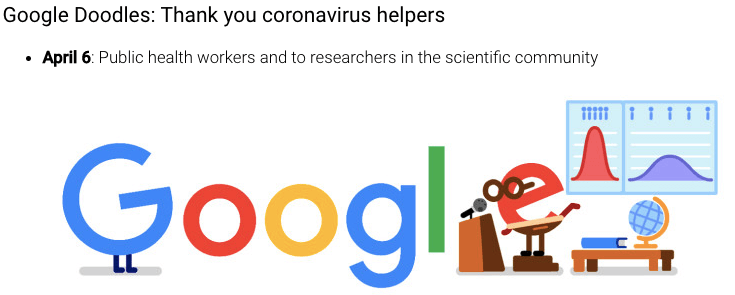 Google Doodle thanks the coronavirus helpers.