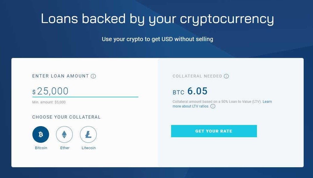 A picture of the application process on the BlockFi platform