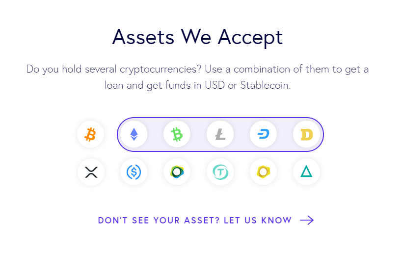 A picture of what cryptoassets Salt platform accepts